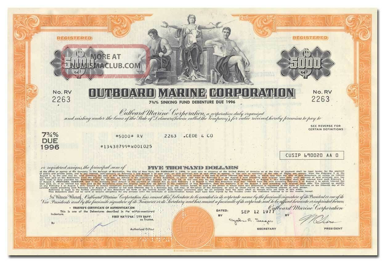 Outboard Marine Corporation Bond Certificate (evinrude,  Johnson,  Gale Motors) Stocks & Bonds, Scripophily photo