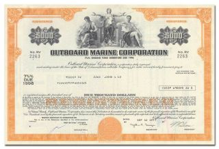 Outboard Marine Corporation Bond Certificate (evinrude,  Johnson,  Gale Motors) photo