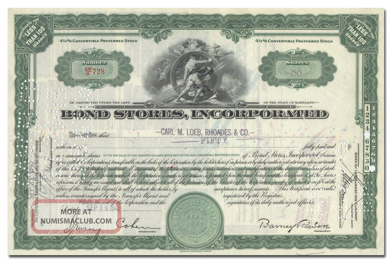 Bond Stores,  Incorporated Stock Certificate (times Square Clothier,  Billboard) Stocks & Bonds, Scripophily photo