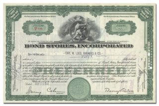 Bond Stores,  Incorporated Stock Certificate (times Square Clothier,  Billboard) photo