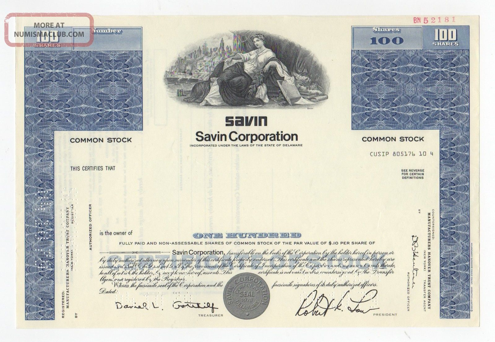 Specimen - Savin Corporation Stock Certificate Stocks & Bonds, Scripophily photo