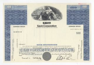 Specimen - Savin Corporation Stock Certificate photo