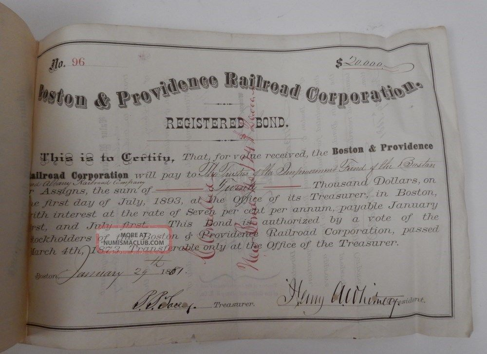 1881 Boston & Providence Railroad Registered Bond 1892 Letter Boston Albany Rr Transportation photo