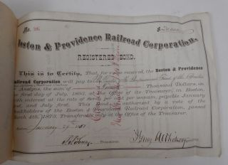 1881 Boston & Providence Railroad Registered Bond 1892 Letter Boston Albany Rr photo
