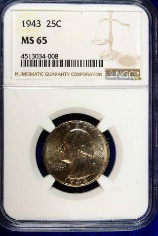 1943 Ngc Ms65 Washington Quarter A9986 photo