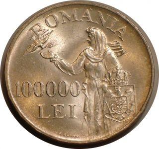 1946 Silver 100000 Lei Of Romania Frosty Bu Bird Lady photo