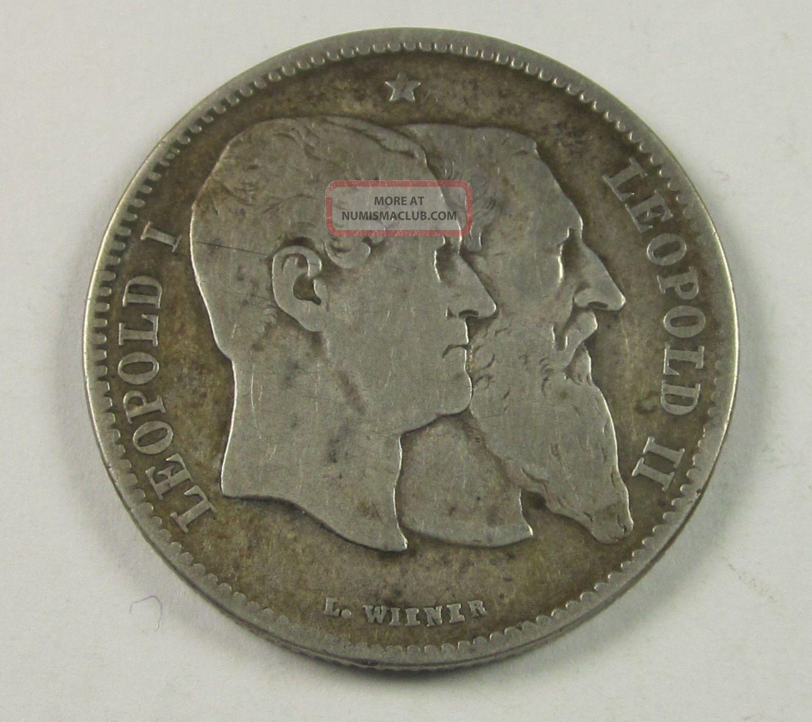 Belgium 2 Francs,  2 Frank,  1880,  50th Anniv.  Of Indepen. ,  Circulated,  Uncertified Belgium photo
