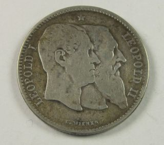 Belgium 2 Francs,  2 Frank,  1880,  50th Anniv.  Of Indepen. ,  Circulated,  Uncertified photo