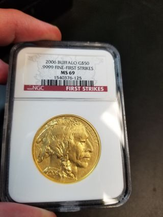2006 $50 Gold Buffalo Ngc Ms69 First Strike - Only Year photo