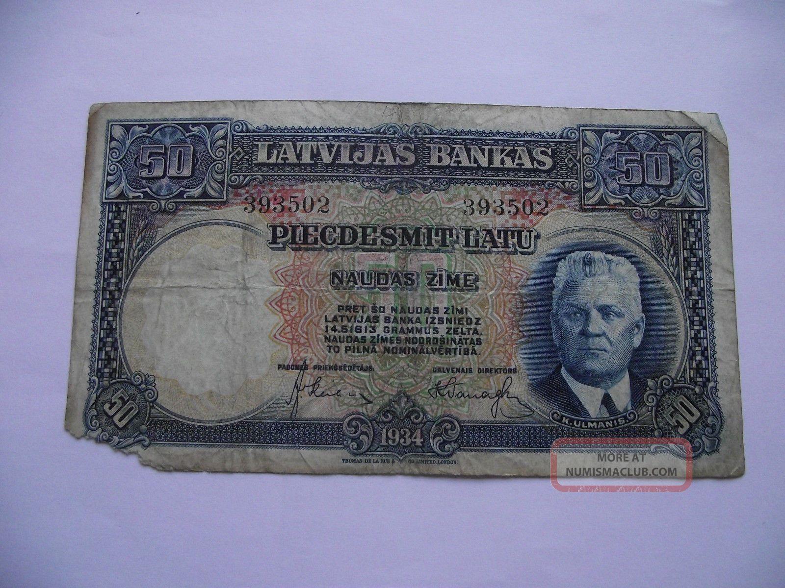 Latvia.  Latvijas Banka 50 Latu (1934) Europe photo