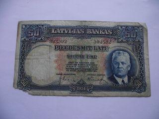 Latvia.  Latvijas Banka 50 Latu (1934) photo