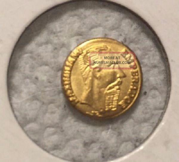 Brilliant Un Circulated,  1865 Mexican ' Gold ' Coin One Maximillian Peso Mexico photo