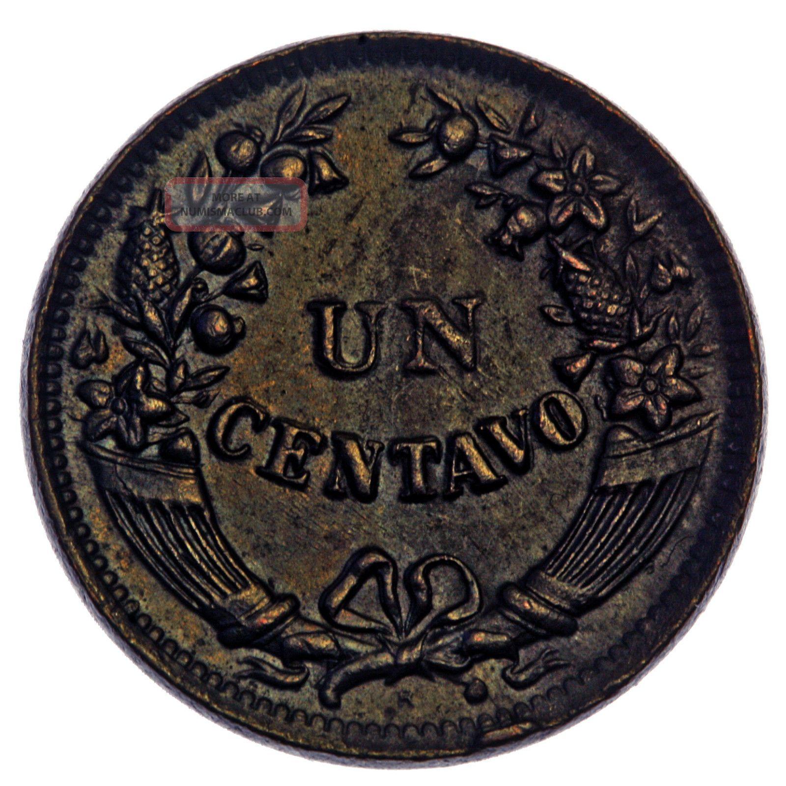 1920 R Peru Un Centavo Coin Actual Coin Photos Shown Usa Peru photo