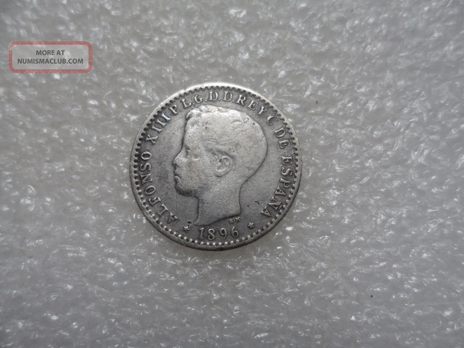 1896 Puerto Rico 10 Centavos Coin (f) On Silver  A Very Scarce Silver One North & Central America photo