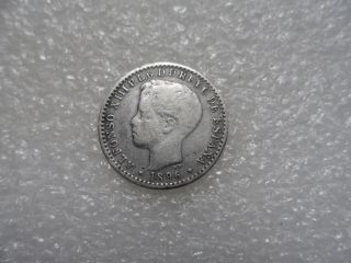 1896 Puerto Rico 10 Centavos Coin (f) On Silver  A Very Scarce Silver One photo