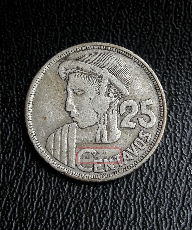 Guatemala 1952 25 Centavos Silver Coin.  Moneda De Plata Guatemala photo