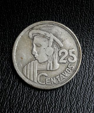 Guatemala 1952 25 Centavos Silver Coin.  Moneda De Plata photo