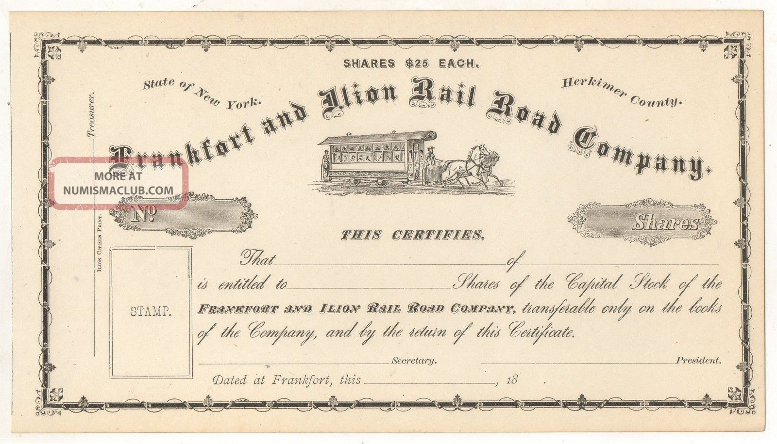 Frankfort And Ilion Railroad Company Horse Trolley Ny York Stock Certificate Transportation photo