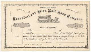 Frankfort And Ilion Railroad Company Horse Trolley Ny York Stock Certificate photo