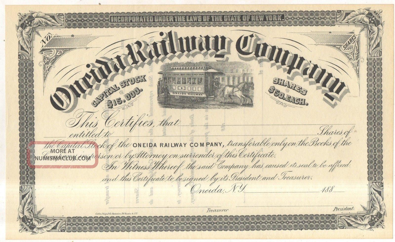 1880s Oneida Railway Company Trolley Horse Car Ny York Stock Certificate Transportation photo