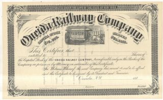 1880s Oneida Railway Company Trolley Horse Car Ny York Stock Certificate photo