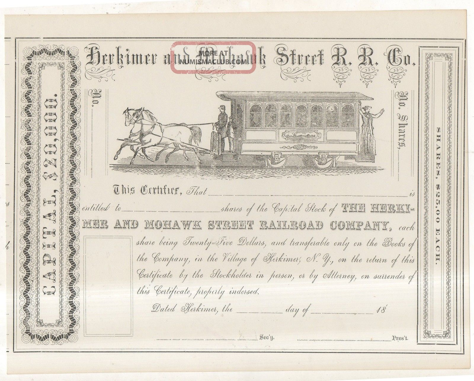 Herkimer & Mohawk Street Railroad Company Horse Car Railroad Stock Certificate 2 Transportation photo