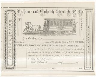 Herkimer & Mohawk Street Railroad Company Horse Car Railroad Stock Certificate 2 photo