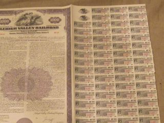 1949 Lehigh Valley Rr Old Canceled Railroad Bond Certificate & Coupons photo