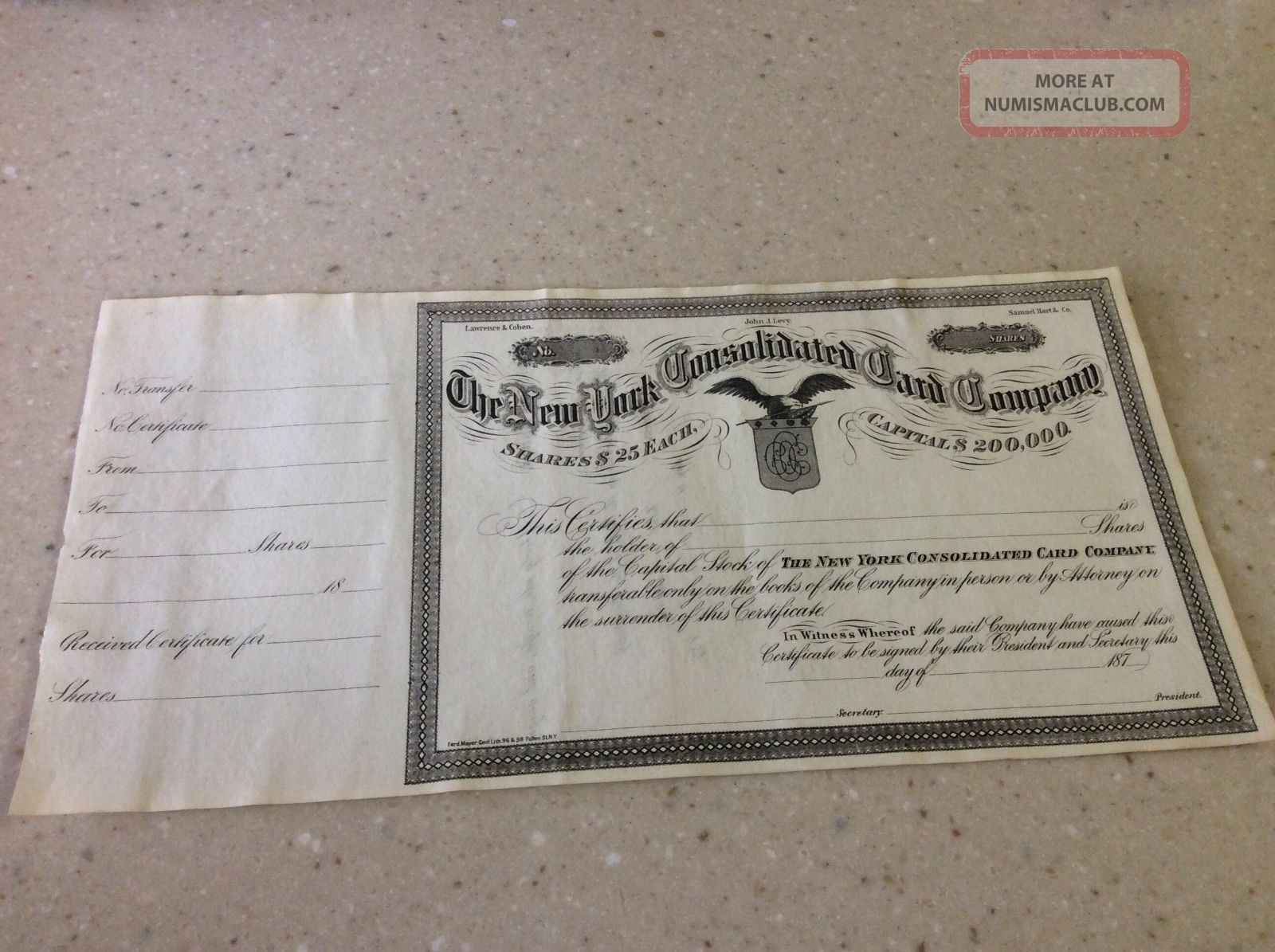 1870 ' S Very Rare York Consolidated Card Company Stock Certificate Unissued Stocks & Bonds, Scripophily photo