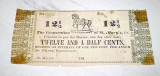 1840s Scrip Note Obsolete Currency 12 1/2 Cents Corp.  Of St.  Mary ' S,  Ga. photo