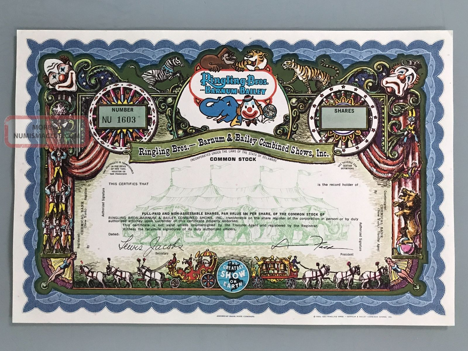 Ringling Brothers Barnum Bailey Specimen Stock Certificate Uncirculated Stocks & Bonds, Scripophily photo