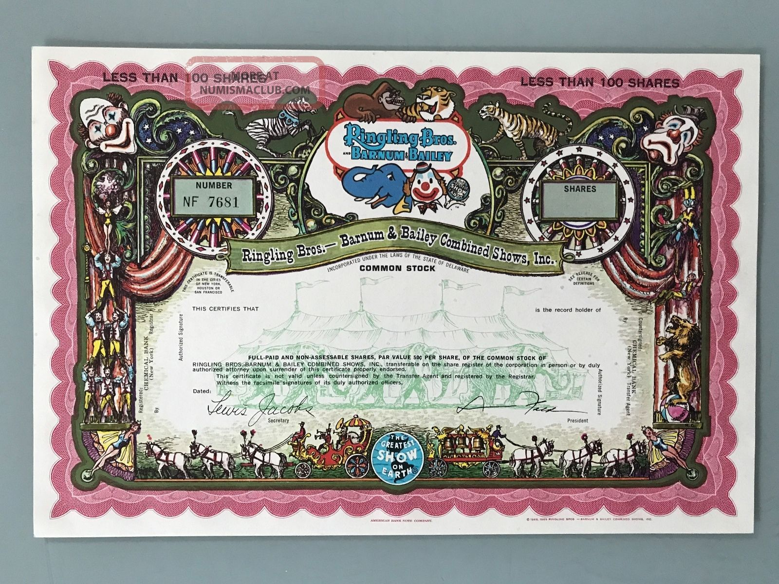 Ringling Brothers Barnum Bailey Specimen Stock Certificate Uncirculated Stocks & Bonds, Scripophily photo