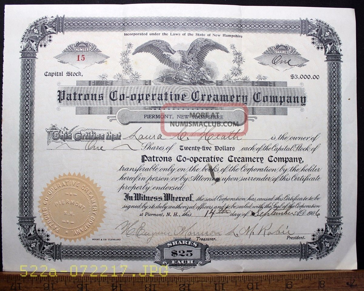 C.  1906 Patrons Co - Operative Creamery Company Piermont,  N.  H.  Stock Certificate 15 Stocks & Bonds, Scripophily photo