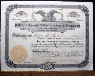 C.  1906 Patrons Co - Operative Creamery Company Piermont,  N.  H.  Stock Certificate 15 photo