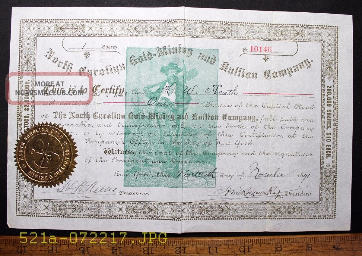 C.  1891 North Carolina Gold Mining And Bullion Company Stock Certificate No 10146 Stocks & Bonds, Scripophily photo