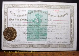 C.  1891 North Carolina Gold Mining And Bullion Company Stock Certificate No 10146 photo