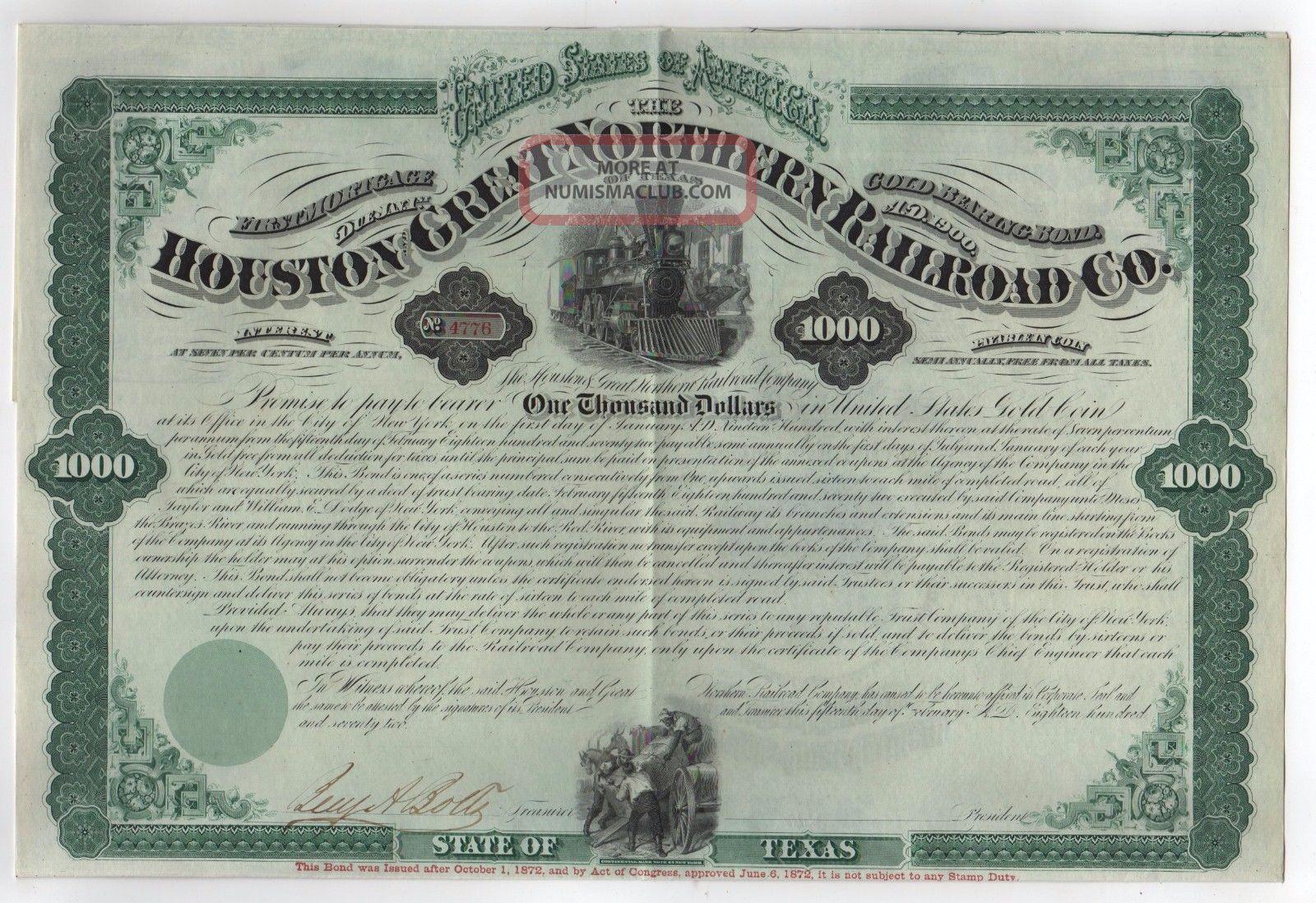 1872 Houston And Great Northern Railroad Company Bond Transportation photo