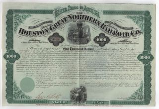 1872 Houston And Great Northern Railroad Company Bond photo