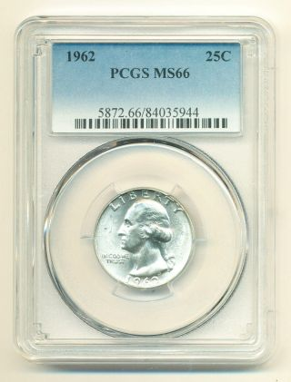 1962 Stunning Washington Silver Quarter.  25c Pcgs Ms66 Opens At.  99c photo