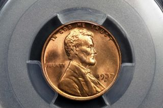 1937 - D Lincoln Wheat Cent Copper 1c Ms66 Rd Red Pcgs 83949371 photo
