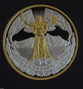2017 Canada 150 Confederation Logo Silver Dollar 99.  99 Pure W Gold Plating photo