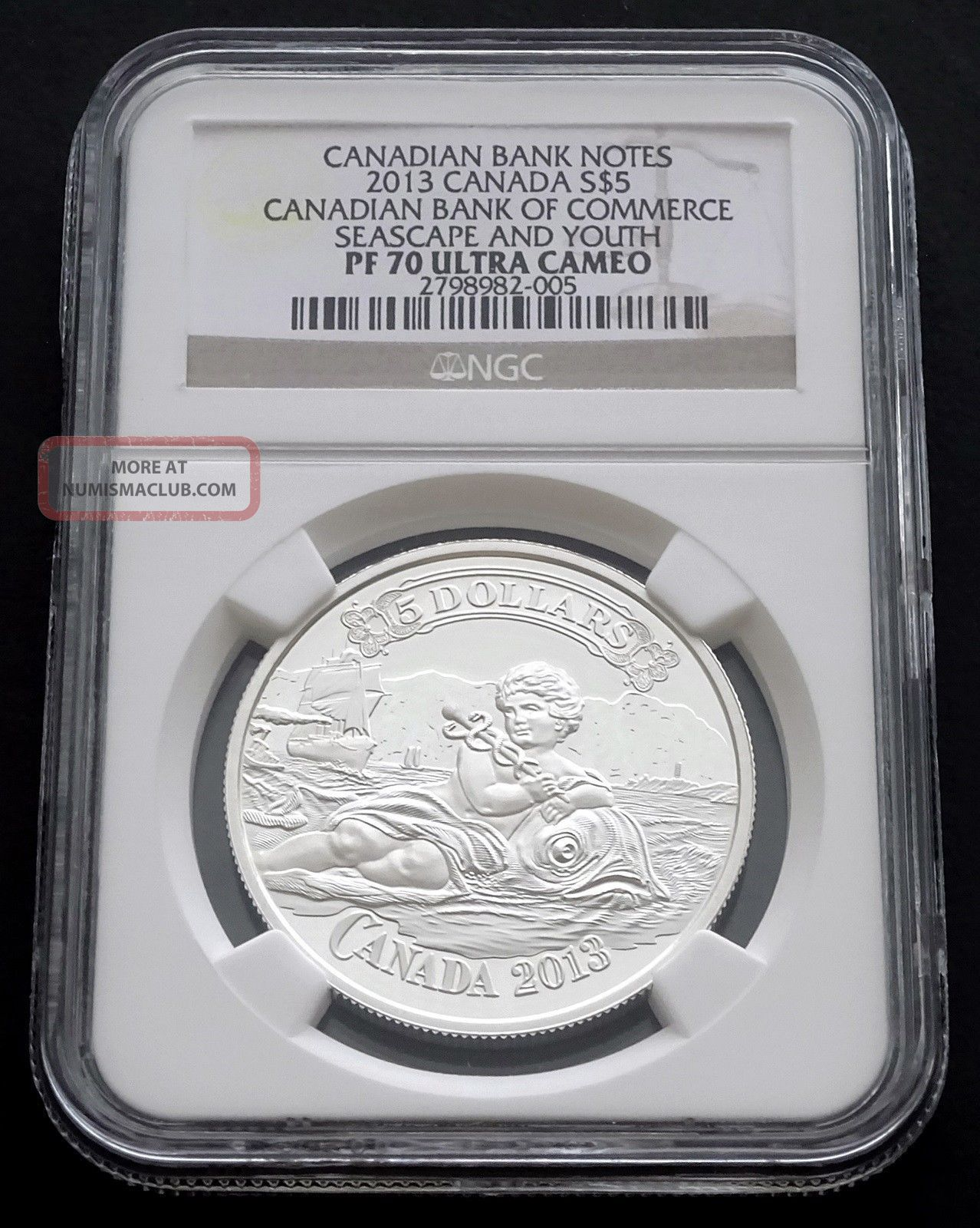 2013 Canada: $5 Canadian Bank Of Commerce,  Seascape And Youth,  Pf70 Ultra Cameo Coins: Canada photo