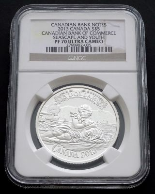 2013 Canada: $5 Canadian Bank Of Commerce,  Seascape And Youth,  Pf70 Ultra Cameo photo