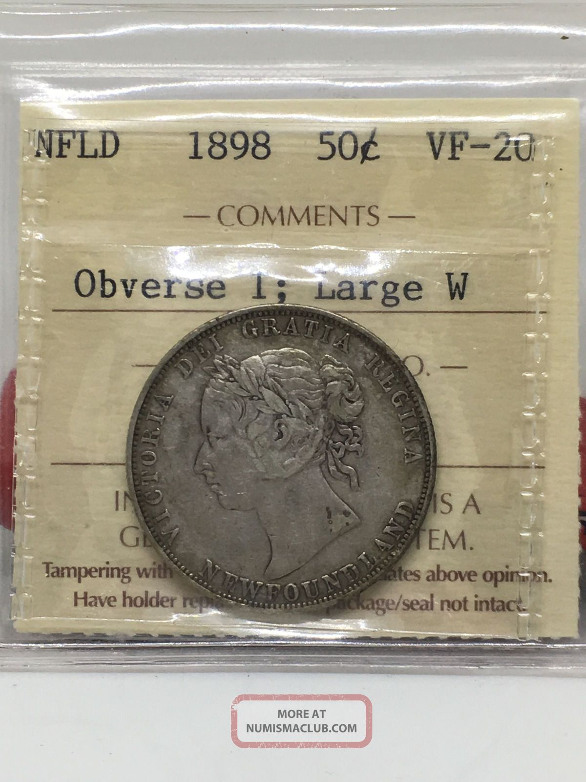 Nfld 1898 50 Cent Piece.  Iccs Vf - 20 Coins: Canada photo
