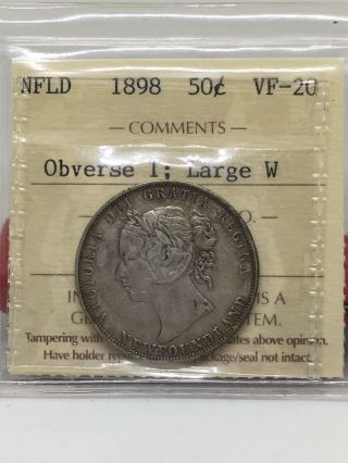 Nfld 1898 50 Cent Piece.  Iccs Vf - 20 photo