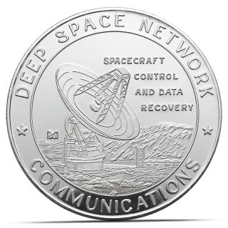 Nasa Jpl Deep Space Network Communications.  999 Silver Coin (jpl1) photo