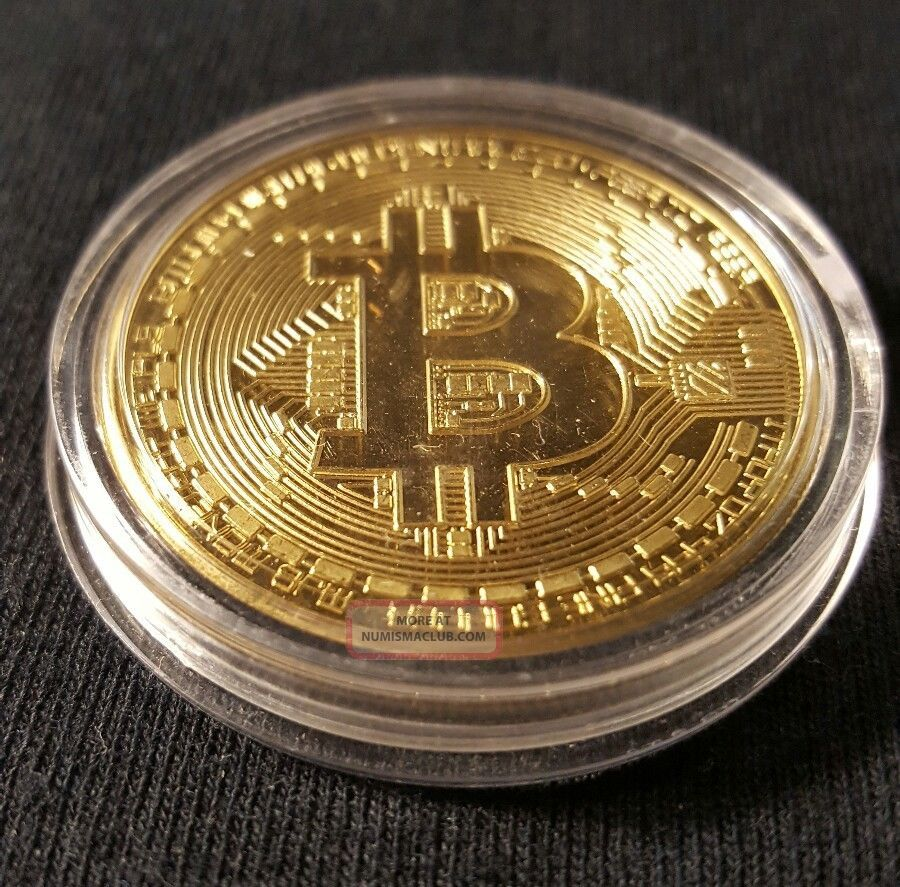 . 999 Fine Gold Bitcoin Collectors Coin - Gold Plated Shipped From Usa Other Coins of the World photo