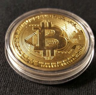 . 999 Fine Gold Bitcoin Collectors Coin - Gold Plated Shipped From Usa photo
