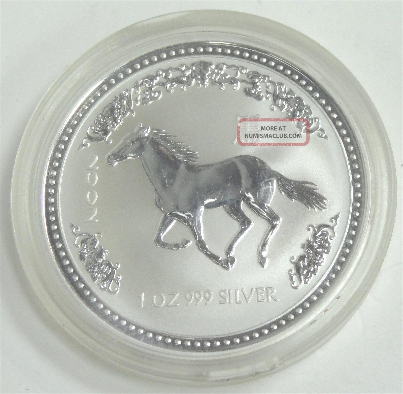 2002 Australian Lunar Year Of The Horse 1 Oz.  Silver Coin Bu Series 1 Commemorative photo