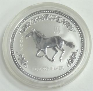 2002 Australian Lunar Year Of The Horse 1 Oz.  Silver Coin Bu Series 1 photo